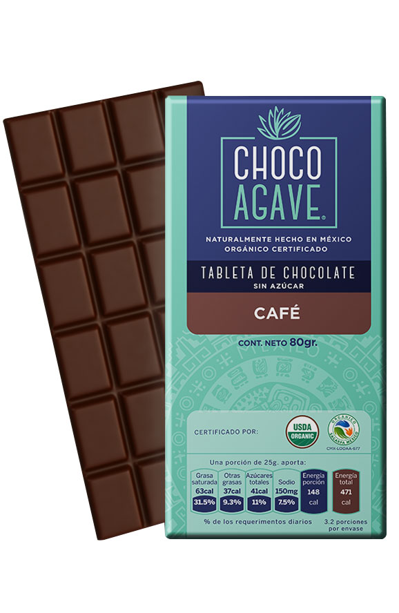 71% CACAO BAR WITH COFFEE Exquisite chocolate bar with <b>71% cacao</b>, carefully made from organic cacao, organic agave syrup, and organic coffee. <br><br> Packaged in individual presentation ready to enjoy, with the quality of <b>CHOCOAGAVE</b>.