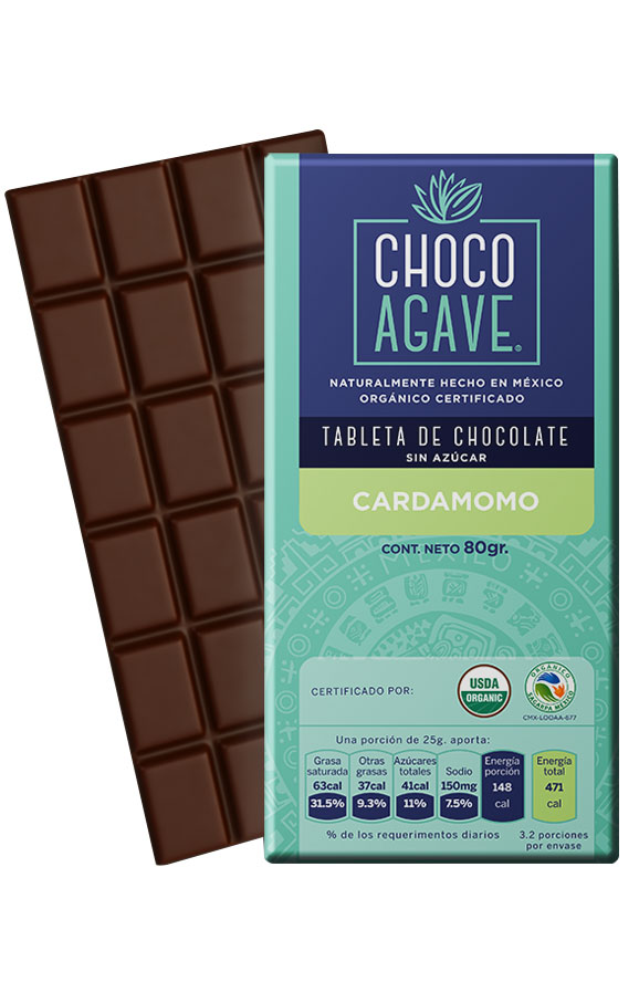71% COCOA BAR WITH CARDAMOMO Exquisite chocolate bar with <b>71% cacao</b>, carefully made from organic cacao, organic agave syrup, and organic cardamom. <br><br> 